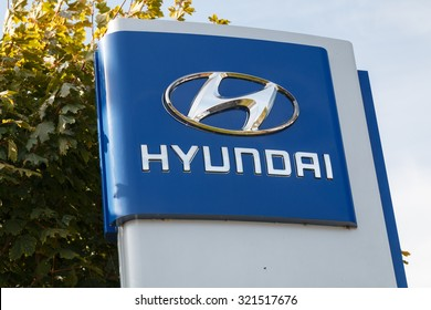Cheshire,UK - September 28th 2015: Hyundai logo on a sign outside the car or automotive dealership. All car brands are under scrutiny after the VW emissions scandal.