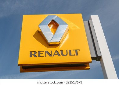 Cheshire,UK - September 28th 2015: Renault logo on a sign outside the car or automotive dealership. All car brands are under scrutiny after the VW emissions scandal.