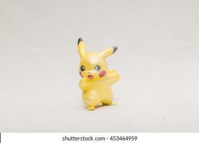 CHESIRE ENGLAND - JULY 16, 2016: Tomy Pikachu Pokemon Collection. Pokemon is a fictional creature created by Satoshi Tajiri in 1995