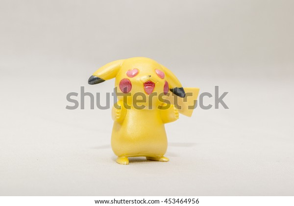 CHESIRE ENGLAND - JULY 16, 2016: Tomy Pikachu Pokemon Collection. Pokemon is a fictional creature created by Satoshi Tajiri in 1995