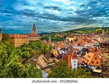 Chesky Krumlov, Czechia, Summer 2020: The top view of medieval town Chesky Krumlov