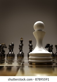 Chess background  central figure-pawn 3d illustration. high resolution