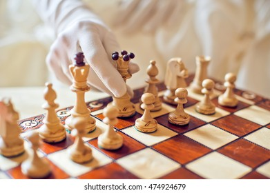 Chess battle between the bride and groom Wedding concept