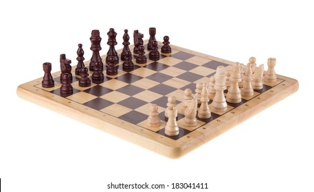 Chess battle on wood board isolated on white background