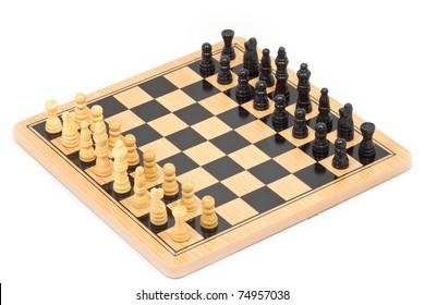 Chess battle on wood board