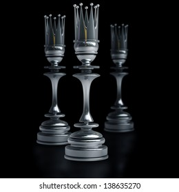 Chess black King isolated on black background. High resolution 3d