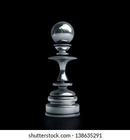 Chess black pawn isolated on black background. High resolution. 3D image