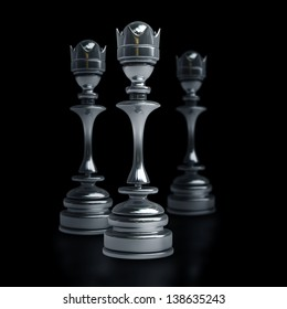 Chess black Queen isolated on black background. High resolution 3d