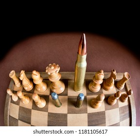 Chess board and brass bullets with room for your type.