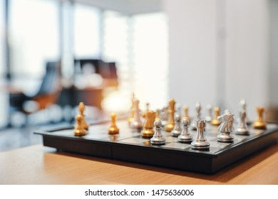 chess board with business office blurred background
