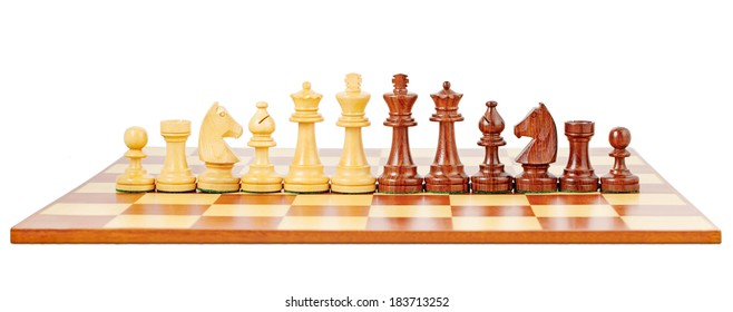 Chess board and chessmen, isolated on white background