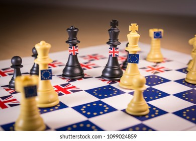 Chess board with European Union and Great Britain pieces. Brexit negociations and strategy concept.