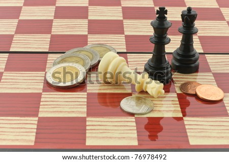 Chess Board Figures Coins Stock Photo Edit Now 76978492 Shutterstock