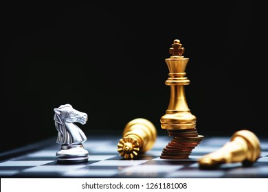 Chess board game, business competitive concept, strong financial capital advantage situation against unstable finance team, winner and loser