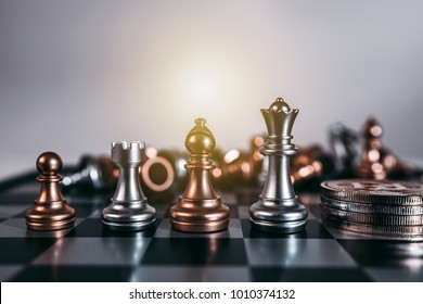 Chess board game concept of business ideas and competition and strategy plan