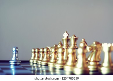 Chess board game, encounter serious situation, business competitive concept, copy space