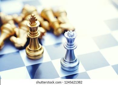 Chess board game, king encounter difficult situation, business competitive concept, copy space