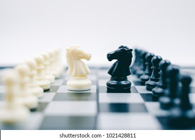 Chess board game, soft to focus, blue tone, leadership, for ideas business leadership and teamwork concept.