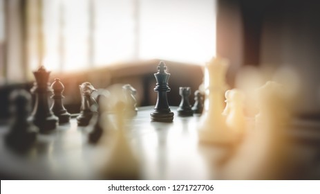 chess board game, strategy and competition in business concept.