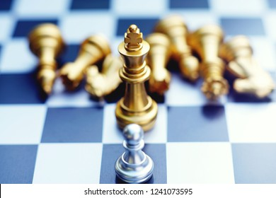 Chess board game, strong pawn encounters against weak king team, business competitive concept, copy space