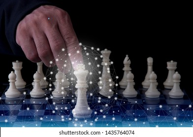 Chess board game tactics for thinking smart idea for business. Winning strategy with creative intelligence Idea for business competition. Game concept ; Thinking for victory, winner, leadership