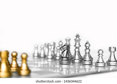 Chess board game with white background, business competitive concept, copy space