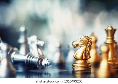 Chess board game, winner winning situation, encounter serious enemy, business competitive concept, copy space