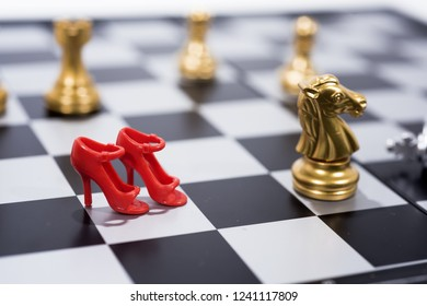 Chess Board isolated on white background. Golden and silver figures.