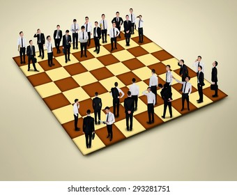 Chess board with many business people