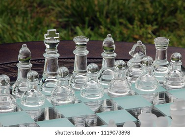 Chess Board on Table in Park