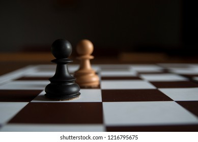Chess board with a pair of chess pieces