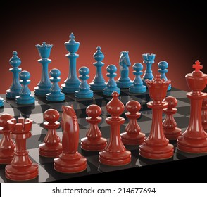 Chess board with pieces of colored glass. Clipping path included.