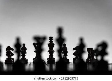 Chess board with chess pieces silhouettes on white background. Concept of business ideas, competition and strategy ideas. Black and White classic art photo. All figure ready for battle, before opening