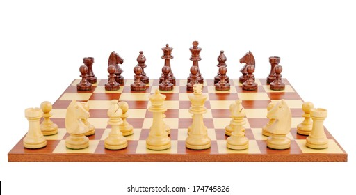 Chess board set up to begin a game, isolated on white background