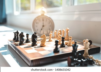 chess board with time clock