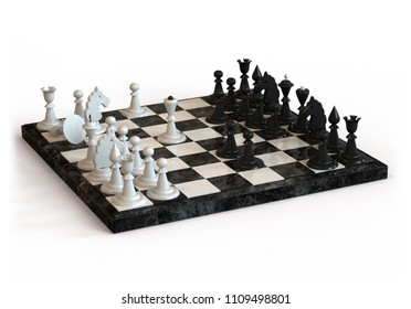 Chess Board with white and black chess pieces on white background. 3D illustration.
