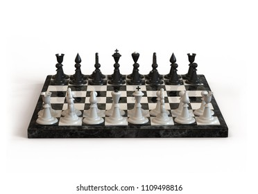 Chess Board with white and black chess pieces on white background. 3D illustration