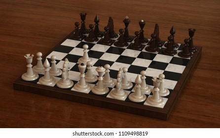 Chess Board with white and black chess pieces on the background of a wooden table top. 3D illustration