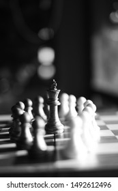 The chess by plastic in black and white. All Black and White Pawn with Black king in Chess Chess is a two-player strategy board game played on a checkered board with 64 squares arranged in an 8×8 grid