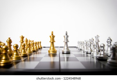 Chess and chessboard, strategic situation, confrontation and competition between the two parties