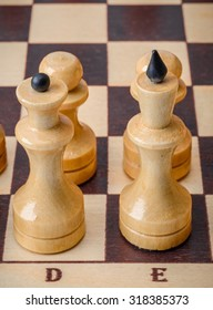 Chess closeup. King and queen