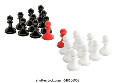 Chess, confrontation and opposition concept with two leaders. 3D rendering isolated on white background
