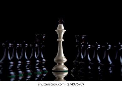 Chess figures on a black background. Studio shot