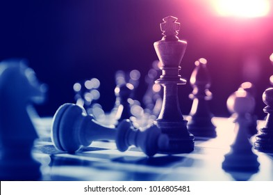 Chess financial business strategy concept. King on the chessboard