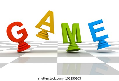 Chess Game 3D font multicolor