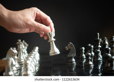 Chess game competition business concept , Chess, Leader and Decision Game The concept of business must be careful.