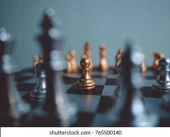 Chess game competition business concept ,  Fighting and confronting problems, threats from surrounding problems. Exhibited under the concept of games. - Shutterstock ID 765500140