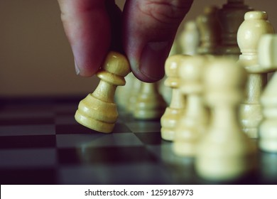 Chess game, first move begin, business competitive concept, copy space