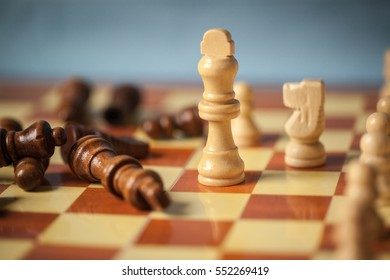 Chess game - Chess king is checkmated - Chess game over. Black chess king is fallen.