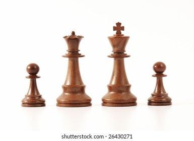 Chess game - King, queen and pawns on a white background